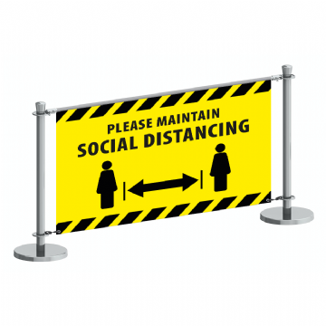 1500mm Cafe Banner - Please maintain social distancing